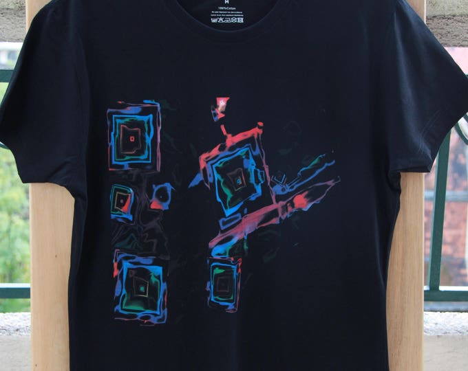 T shirt, black, cotton, unisex, graphic, printed, neon square