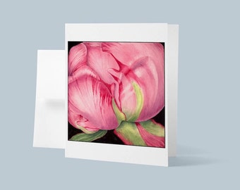 Fine Art Card, Peony, Greeting Card, Birthday Card, blank Card with Envelope, Original Watercolor Painting