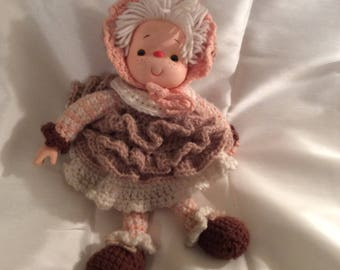 Doll, knit, crocheted, vintage