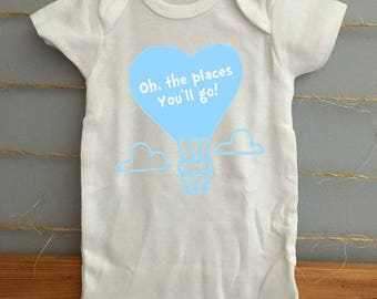 Oh the places you'll go - Dr Seuss inspired onesie