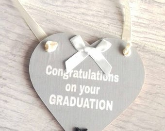 Graduation gift, Congratulations on your GRADUATION gift, hanging heart gift, heart present, graduation heart, well done, grey heart gift