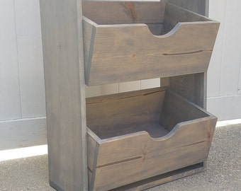 Custom Rustic Display Shelf Unit - Weathered Gray Pine - Toy Book Storage Home Decor