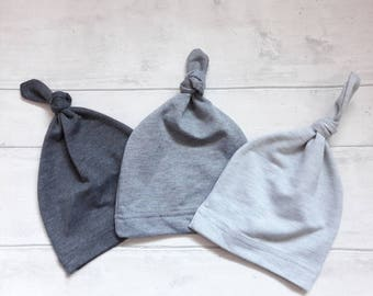Top Knot Baby Hat - Grey Baby Hat - Minimalist Baby Hat - Newborn Baby Hat - Cool Baby Beanie - Gender Neutral Hat - Newborn Knotted Beanie