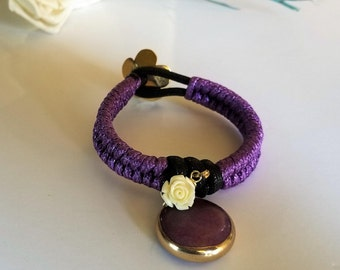 Woven bracelet with agate charm