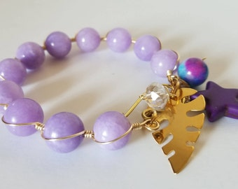 Purple and blue onyx bracelets with cute charms