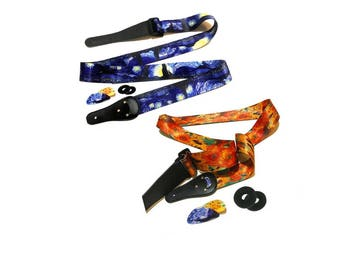 2 Guitar Straps - Van Gogh Gift Set Starry Night and Sunflowers Guitar Strap - Best Guitar Player gift for Any Musician and Art Lover