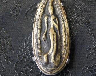Thai Buddhist Amulet Sterling Silver Brooch Pin TJ 27