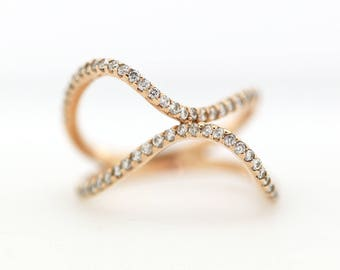 Geometric Diamond Ring 14K Solid Gold Double Eternity Diamond Ring Wedding Ring Engagement Ring