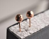 Rose gold dot earring stud. Rose gold ball stud. Tiny Rose gold stud. Minimalist rose gold earrings.
