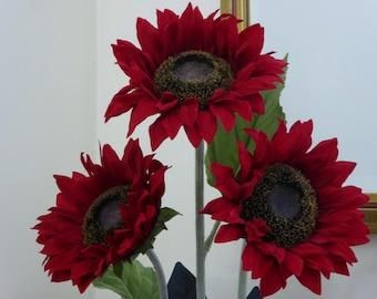 Deep Red Sunflower silk arrangement