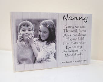 Nanny plaque personalised gift photo quote shabby chic grandmother block poem 15 x 10 cm nana gran glam-ma