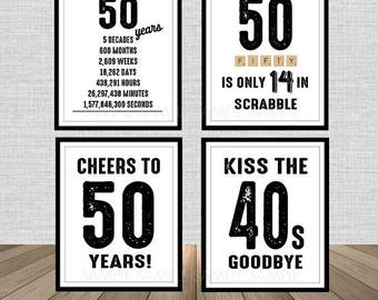 50th Birthday Poster Sign Bundle Pack, Back in 1968, Printable, Cheers to 50 Years, 50 in scrabble, Kiss the 40's Goodbye