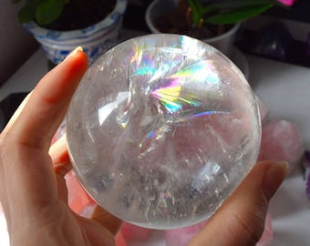 LARGE Rainbow Quartz Crystal Sphere, Genuine NATURAL Crystal, Healing Crystal Ball, Rainbow Crystals for Love and Positive Energy