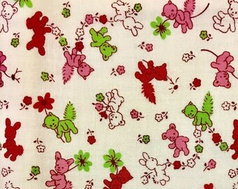 By The HALF YARD- Toy Box 3 by Sara Morgan for Blue Hill, #7991 Green, Pink, Red Flowers, Bunnies, Bears, Cats on White, 1930's Repro, retro