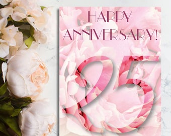 Happy 25th Anniversary Card, 25th Anniversary Card, Silver Anniversary Card