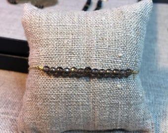 Gold plated and smoky - Quartz Bracelet on chain mesh convict and semi precious stones in Brown smoky Quartz - minimalistic Style