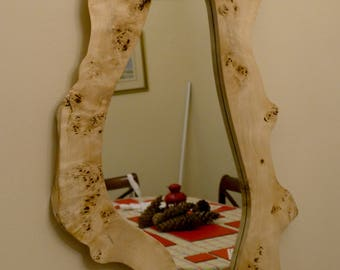 Natural edge Pippy Poplar Mirror