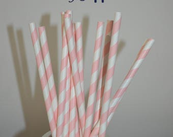 Hot Pink Paper Straws, Tall Drinking Straws, Pink and White Paper Straws, Girl Birthday Party Straws -  Pink Stripe Straws-25 CT