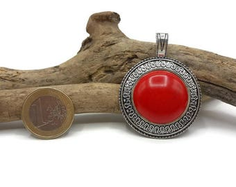 Antique silver pendant and Red resin - pendant Tibetan style - A061