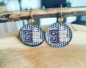 """Earrings Cabochon """"I Love Your Smile"""""""