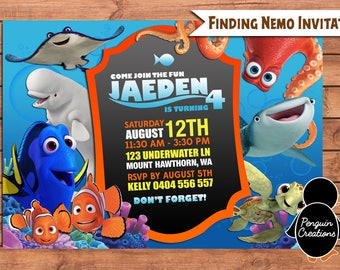 Finding Dory Invitation. Finding Dory Birthday Party. Party Supplies. Baby Shower.