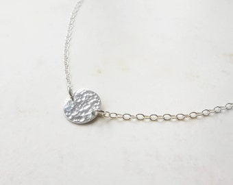 Silver Choker Necklace - Disc Choker Necklace - Delicate Sterling Silver Choker - Hammered Disc Necklace