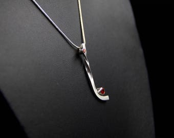 Sterling silver and cubic zirconia pendant, abstract silver pendant, silver jewellery, red cubic zirconia necklace, modern pendant