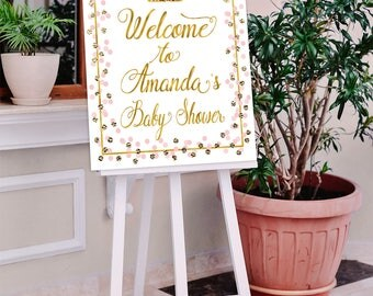 Baby Shower Welcome sign, Princess Welcome sign, Pink, Gold, Welcome sign, Welcome to baby shower,  Girl Baby shower decorations, Pri-23