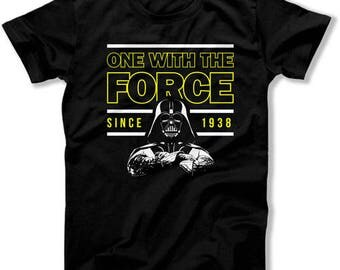 80th Birthday Gifts For Men Bday T Shirt Nerd TShirt Geek Clothing Custom Year One With The Force Since 1938 Birthday Mens Tee DAT-1369