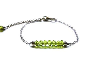 Bracelet vert Péridot - Argent 925, chaine fine, pierres fines naturelles, semi précieuses, bijou artisanal