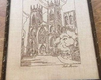 Vintage Embroidery of York Minster Cathedral - Framed - Dated 1935