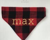 personalized dog bandana – red and black buffalo check flannel