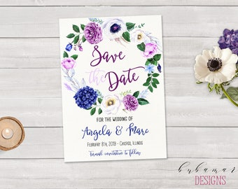 Printable Purple Wedding Save the Date Invitation Bohemian Lavender Blue Floral Wreath Save the Date Fall Wedding Spring Invite - WS021