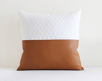 Duo - Vegan Leather and white quilting fabric