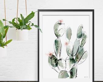 Cactus Print. Cactus Art. Cactus Painting. Prickly Pear. Cactus Trend. Botanical Print. Wall Art.