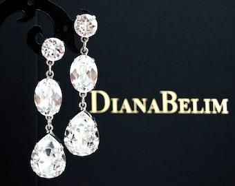NEW Crystal Clear Swarovski Crystal Earrings, Crystal Earrings, Swarovski Earrings, Gift for Her, Gift for women Teardrop Earrings FREE S&H
