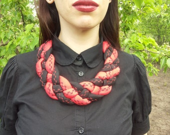 Cotton necklace Textile necklace Fabric necklace Bib Necklaces Boho jewelry Statement necklace Unique necklaces