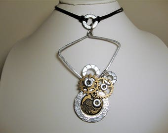 Steampunk Necklace, Leather Choker, Art Necklace, Steampunk Gears, Hardware Jewelry, Industrial Jewelry, Abstract Jewelry,Statement Necklace