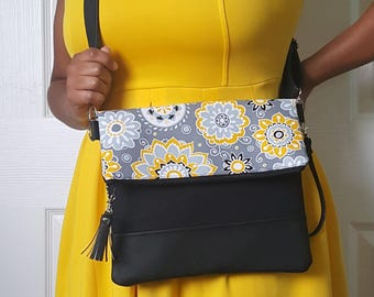 Yellow Gray Black Floral Print Crossbody Bag, Black Faux Leather, Crossbody Purse, Clutch, Wristlet, Shoulder Bag, Purse, Birthday Gift
