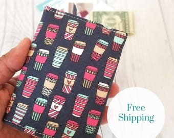 Coffee Wallet, Pink Wallet, Navy Slim Wallet, Small Women Wallet, Business Card Wallet, Credit Card Wallet, Credit Card Case, Gift Idea