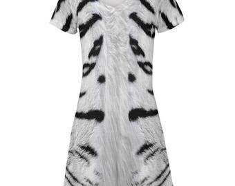 White Siberian Tiger Costume Juniors V-Neck Beach Cover-Up Dress