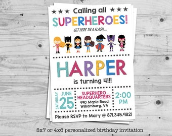 Superhero girls birthday invitation - personalized with your child's name - digital / printable