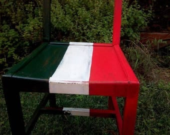 Upcycled oak chair with italian flag