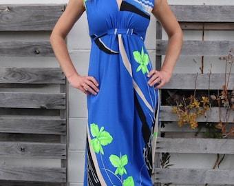 Beautiful 1970s Hawaiian Maxi Dress