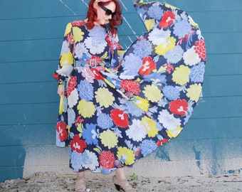Amazing 1970s Oscar De La Renta Boutique Dress w/Head Scarf