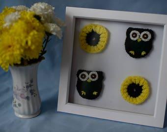 Owls & Flowers Framed Crochet Art