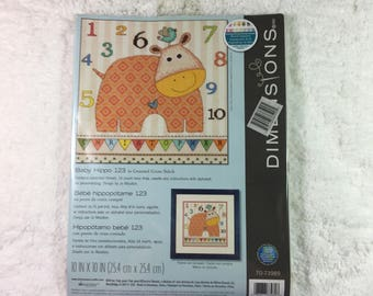 """Dimensions #70-73989 """"Baby Hippo 123"""" Counted Cross Stitch Kit / with alphabet for personalizing / design by Jo Moulton / finishes 10"""" x 10"""""""