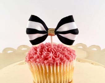 Kate Spade Bridal Shower - Black and White Bow Cupcake Toppers - Black and White Cupcake Toppers - Kate Spade Party Supplies - Set of 12