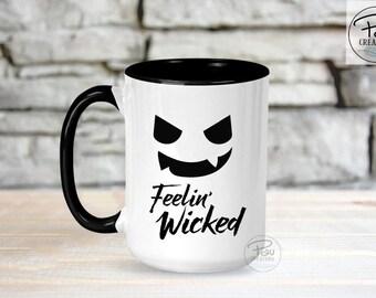 Feelin' Wicked - Pumpkin - Funny Mug - Halloween Mug - Pumpkin Mug - Pumpkin Face - Fall Mug - Autumn Mug - Gift for her - Gift for him