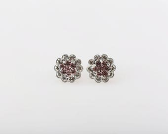 Sterling Silver Pave Radiance Stud Earrings, Swarovsky Crystals, 7mm Flower, Light Amethyst Color, Unique BlingBling Korean Style